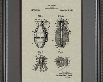 Grenade Patent Art Army Soldier Marine Military Gift A5440