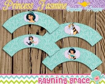 Princess Jasmine Birthday Cupcake Wrappers (Instant Download)
