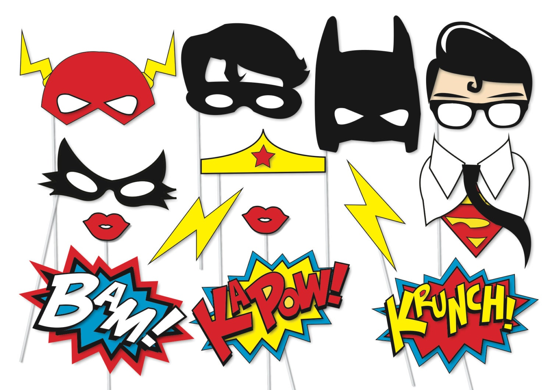 Superhero Photo booth Party Props Set 14 Piece PRINTABLE
