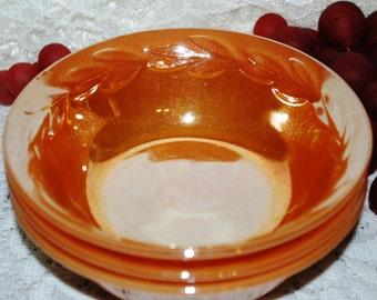 "Anchor Hocking 3 Pc Set Fire King Peach Lustre Laurel Leaf 4-3/4"" Berry Bowls"