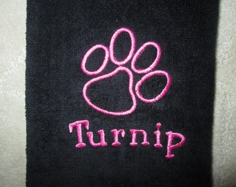 Personalized Dog Towel - Embroidered with paw print and name / clean the Paws & the Drool while you out and about.