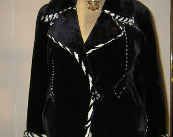 New Sheared Black Beaver Fur Jacket with Bleached Beaver Fur Inserts