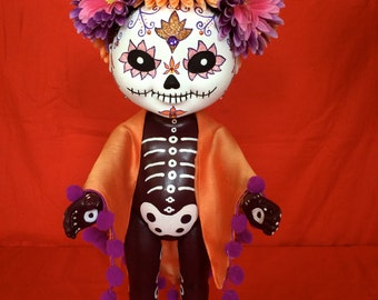 Margret Chorizzo is a OOAK  Day of the Dead baby art doll