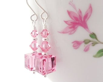 Pink Crystal Cube Earrings, Rose Swarovski Crystal Cube Beaded Drop Earrings, Square Dangle Earrings, Pink Swarovski Crystal Jewelry