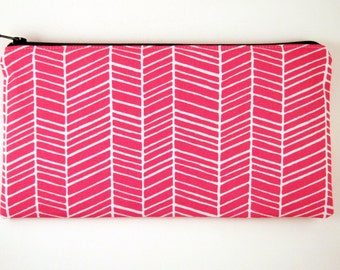 Red Herringbone Zipper Pouch, Make Up Bag, Pencil Pouch, Gadget Bag