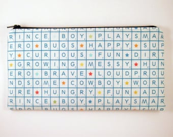 Word Puzzle Pencil Case, Zipper Pouch