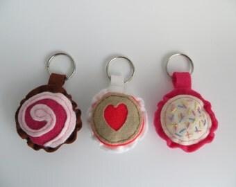 Hand sewn felt sweetie keyrings