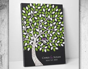 Custom Wedding Guest Book // Wedding Guest Book Ideas // Wedding Tree Guestbook // Canvas Or Print 55-150 Signatures 16x20 Inches