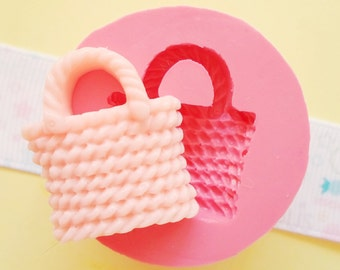 25mm Wicker Bag Flexible Silicone Mold - Decoden Kawaii Sweets Resin Fimo Polymer Clay Sculpey Wax Soap Fondant Cabochon