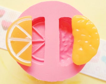 22mm Orange Tangerine Slice Half Sliced Tangerine Flexible Silicone Mold - Kawaii Sweets Resin Fimo Polymer Clay Sculpey Wax Soap Fondant