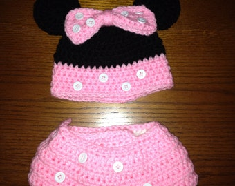 Minnie Mouse inspired hat and diaper cover