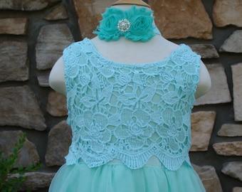 Flower girl dress, flower girl dresses, lace flower girl dress, mint flower girl dress, flower girl, dress,girls lace dress,  girl dress
