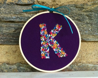 Hand Embroidery. Initial. Embroidery Hoop. Hoop Art. Wall Art. Personalized. Made to Order.Letters. Custom. Gift for Her. Girls Room. Floral