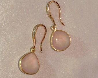 Wedding, Bridal Jewelry: Rose Quartz Earrings / Pink Gemstone Earrings / Pink Chalcedony Gold Earrings / Rose Quartz Bridesmaid Earrings