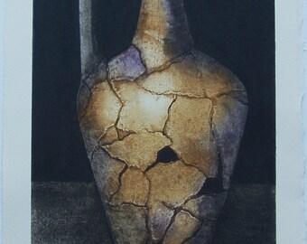 Roman Pot IX - An Original Collograph Print