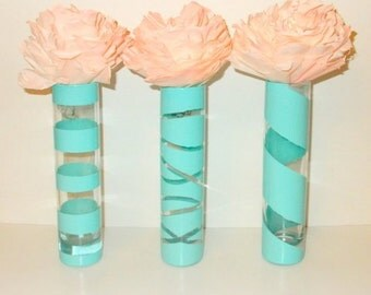 Turquoise Vases. Painted Vases. Set of 3 painted vases. Turquoise painted vases. Turquoise wedding decor. Turquoise home decor.
