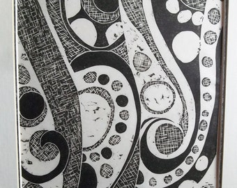 Vortex a Black and White Abstract Linoleum Art Print Signed By Betty Lou Pratt Vintage wall Hanging Art Decor