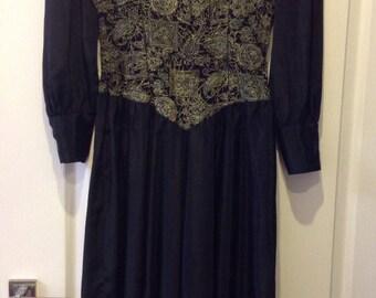 Vintage Dress Amazing Black Silk Small