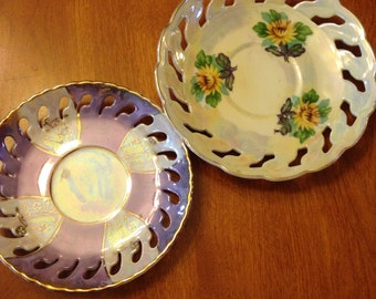 Two Mid Century Opalescent Plates
