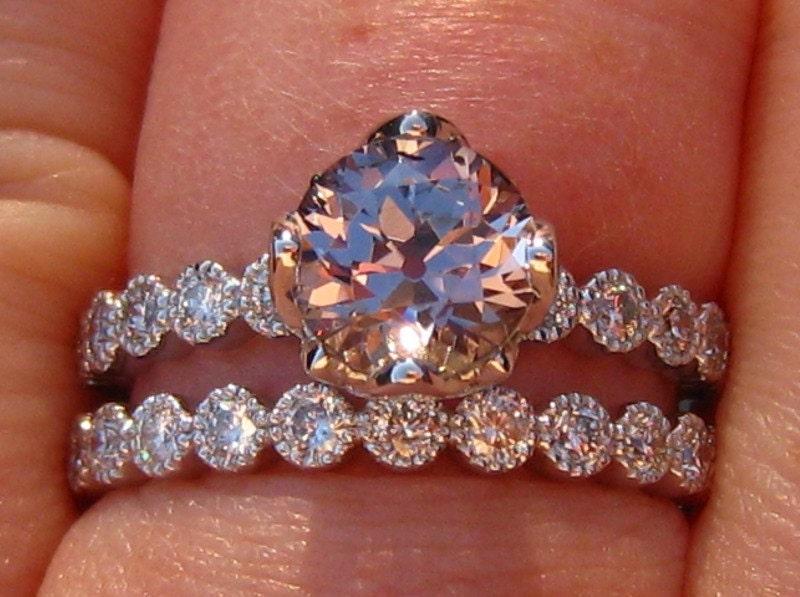 Gold Lotus Diamond Wedding Set with Gold Milgrain Bezels