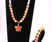 Orange, Yellow and White Girls Chunky Acrylic Butterfly Jewellery Set