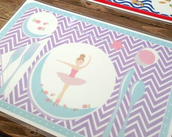 Children's Manners and Table Setting Placemat  - Ballerina Girl
