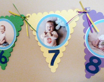 happy birthday banner with photos, first year