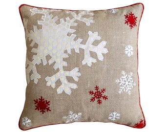 "Christmas linen pillow cover, snowflake, Indian brocade applique & embroidered pillow size 16""X 16"""