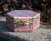 Purple + Black Rhombus Patterned, Hand-Painted, Wooden Hexagon Treasure Box; Valuables Chest for Storing Small Keepsakes and Collectables