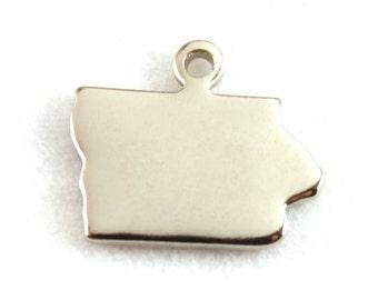 2x Silver Plated Blank Iowa State Charms - M070-IA