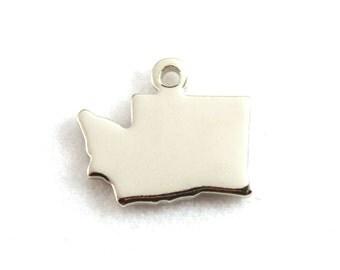 2x Silver Plated Blank Washington State Charms - M070-WA