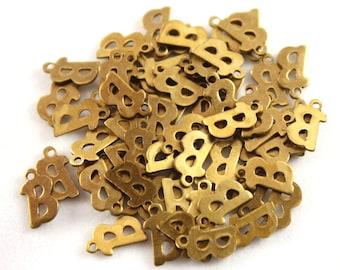 "5x Letter ""B"" Brass Initial Charms - M071-B"