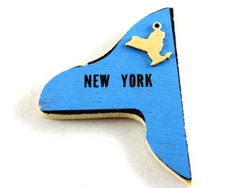 6x Blank Brass New York State Charms - M073-NY