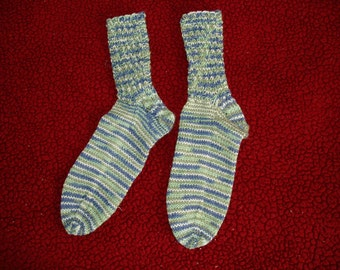 Handknit socks, merino wool, twisted leg design, blue variegated yarn, custom colors available