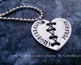 Hand stamped 'Imperfectly Perfect' Aluminium Broken Heart Necklace, Unique, Stitched Heart,Handmade, Wirework,Unique, Metal Word Jewellery