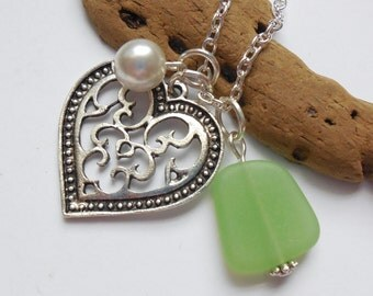 Spring Green Sea Glass Necklace, Beach Glass Necklace, Sea Glass Jewelry, Beach Glass Jewelery, Heart Charm Necklace, Free Shipping in US.