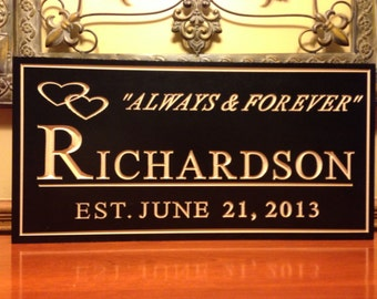 Personalized Engraved  Plaque Est. Family Wedding Sign Gift Wooden Last Name Marriage
