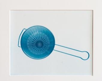 Blauwdruk oftewel cyanotype kitchen utensill