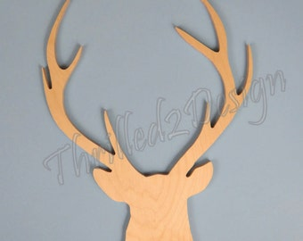 Deer Head with Antlers Shape - Wooden and Unpainted