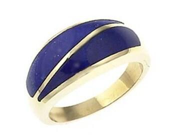 18K Gold Ring with inlayed Lapis Lazuli