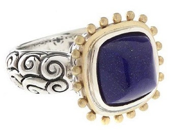 18K Gold, Sterling Silver and Lapis Lazuli Ring
