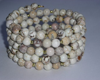 White Turquoise and Gold Beaded Serpentine Bracelet Cuff