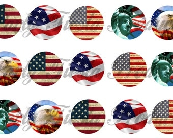 US American flag Bottle cap Images usa graphics scrapbooking - Instant Download