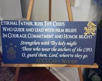 Navy Chief Prayer wood and vinyl sign