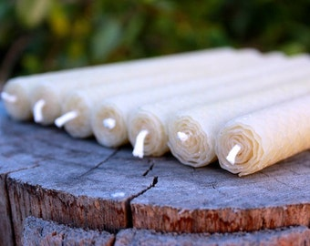 Bundle of 7 Standard Taper Beeswax Hand Rolled Candles, 100% Natural & Made in Australia