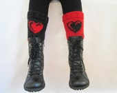 Boot Cuffs, Knitted boot cuffs, Red and Black , Two in One, Leg Warmer, Very Long Cuff, Garnished with heart pattern, With Free gift