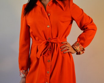 Vintage polyester dress 1960s, 1970s,Orange Polyester Dress ,SIze 14 ,Button Down ,Belted