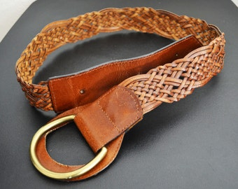 Brown Leather Belt ,Wide belt,Braided ,Boho ,belt,Large Buckle