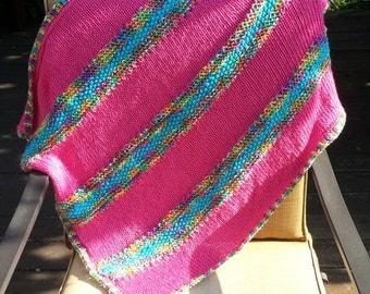 New handmade baby blanket afghan throw Festive Hot Pink Fuschia multicolor shower gift (0814E) soft!