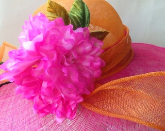 Orange and Fuschia sinamay wide brim hat with hand painted three open roses and hand painted leaves